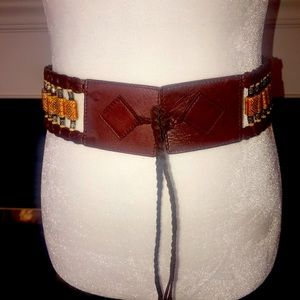 Guess   Leather Beaded & Braided Belt